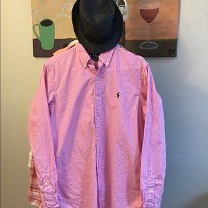 Ralph Lauren shirt medium excellent pink/ white